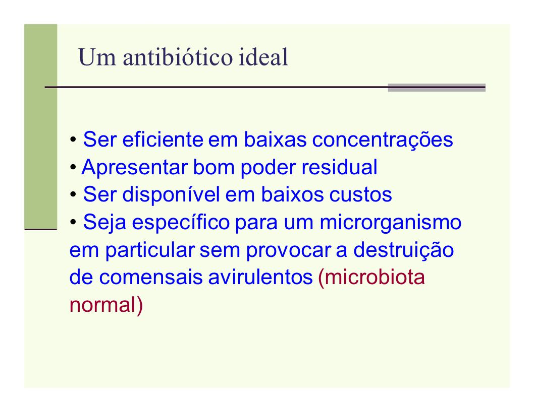 Um antibiótico ideal Ser eficiente em baixas concentrações