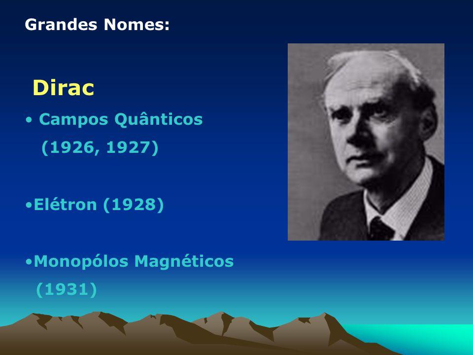 Dirac Grandes Nomes: Campos Quânticos (1926, 1927) Elétron (1928)