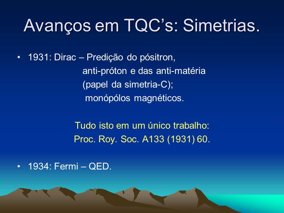 Avanços em TQC's: Simetrias.