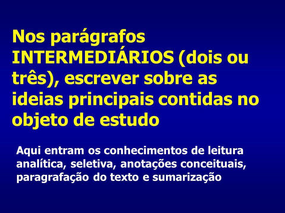 Nos parágrafos INTERMEDIÁRIOS (dois ou três), escrever sobre as ideias principais contidas no objeto de estudo