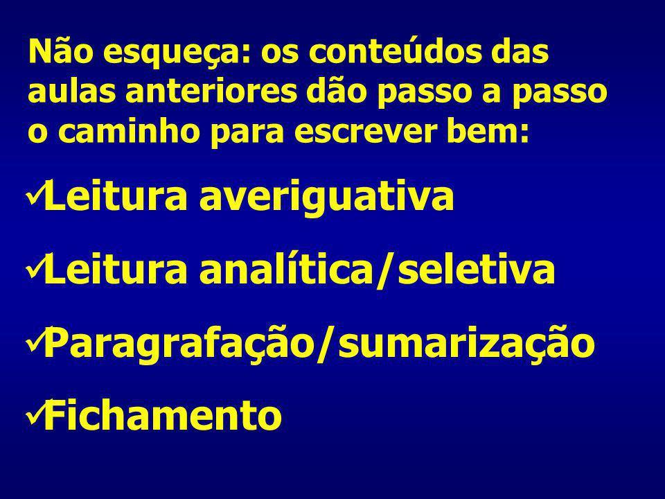 Leitura analítica/seletiva Paragrafação/sumarização Fichamento