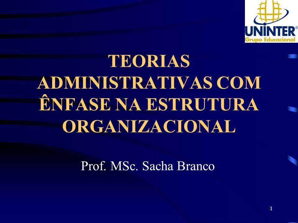 TEORIAS ADMINISTRATIVAS COM ÊNFASE NA ESTRUTURA ORGANIZACIONAL