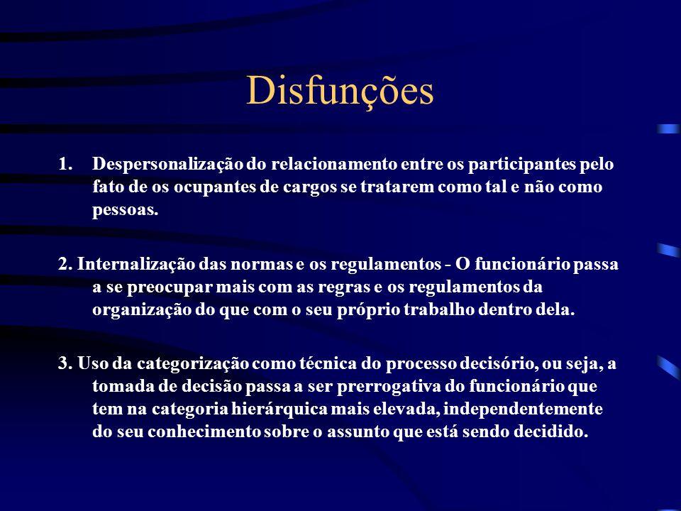 Disfunções Despersonalização do relacionamento entre os participantes pelo fato de os ocupantes de cargos se tratarem como tal e não como pessoas.