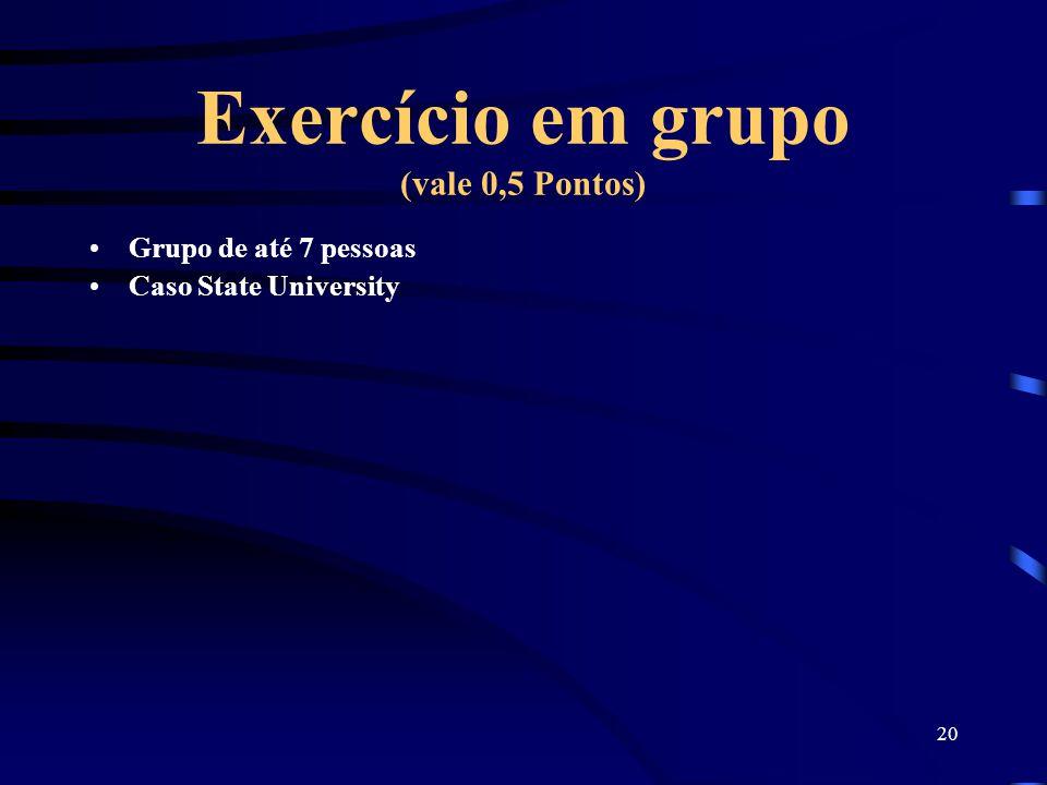 Exercício em grupo (vale 0,5 Pontos)
