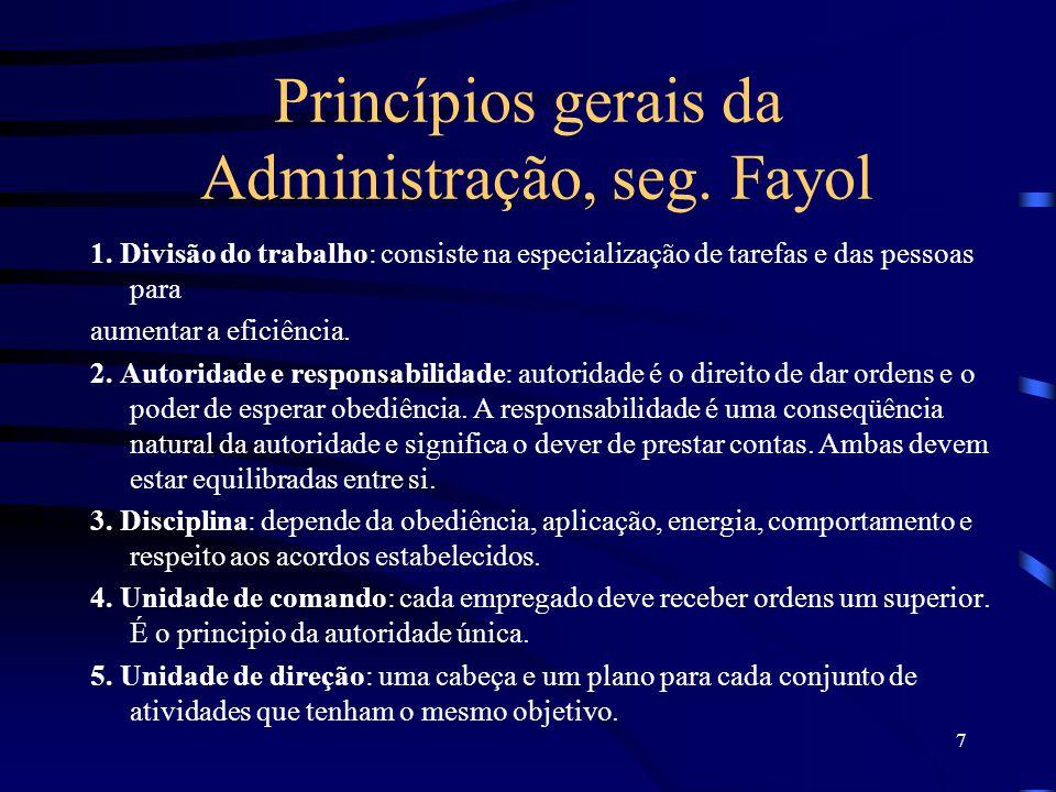 Princípios gerais da Administração, seg. Fayol