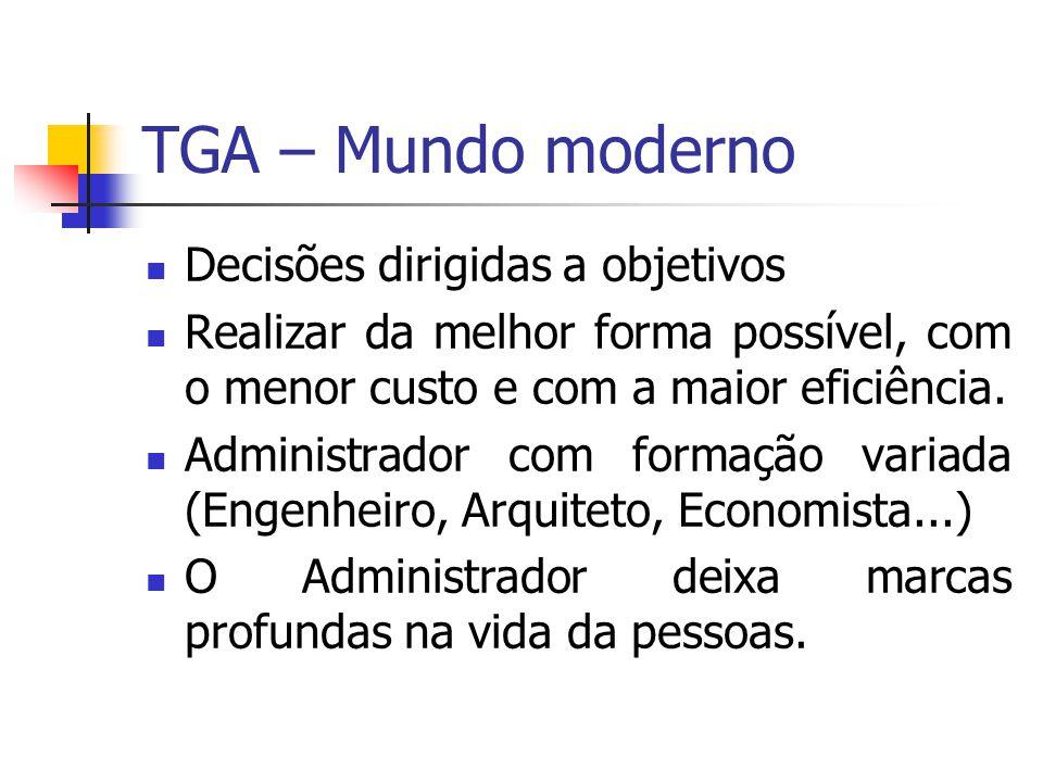 TGA – Mundo moderno Decisões dirigidas a objetivos