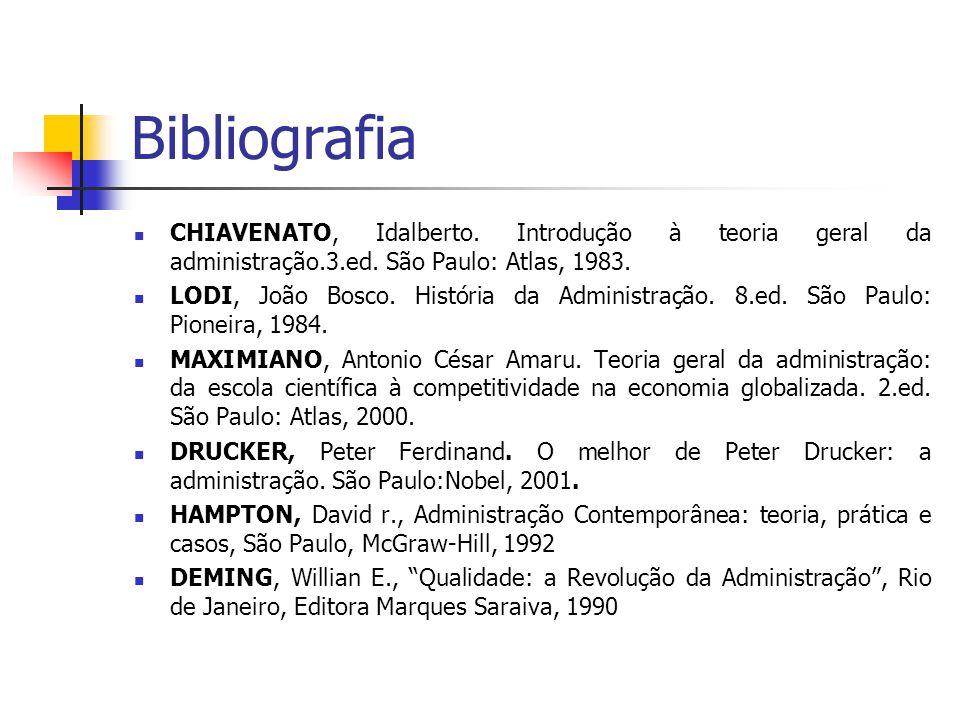 Bibliografia CHIAVENATO, Idalberto. Introdução à teoria geral da administração.3.ed. São Paulo: Atlas, 1983.