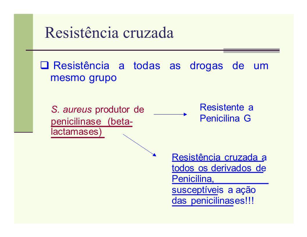 Resistência cruzada Resistência a todas as drogas de um mesmo grupo