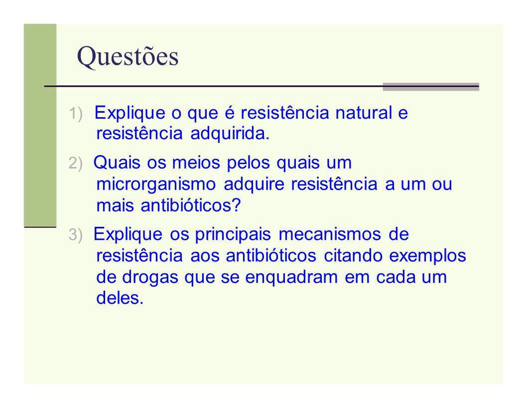 Questões 1) Explique o que é resistência natural e resistência adquirida.