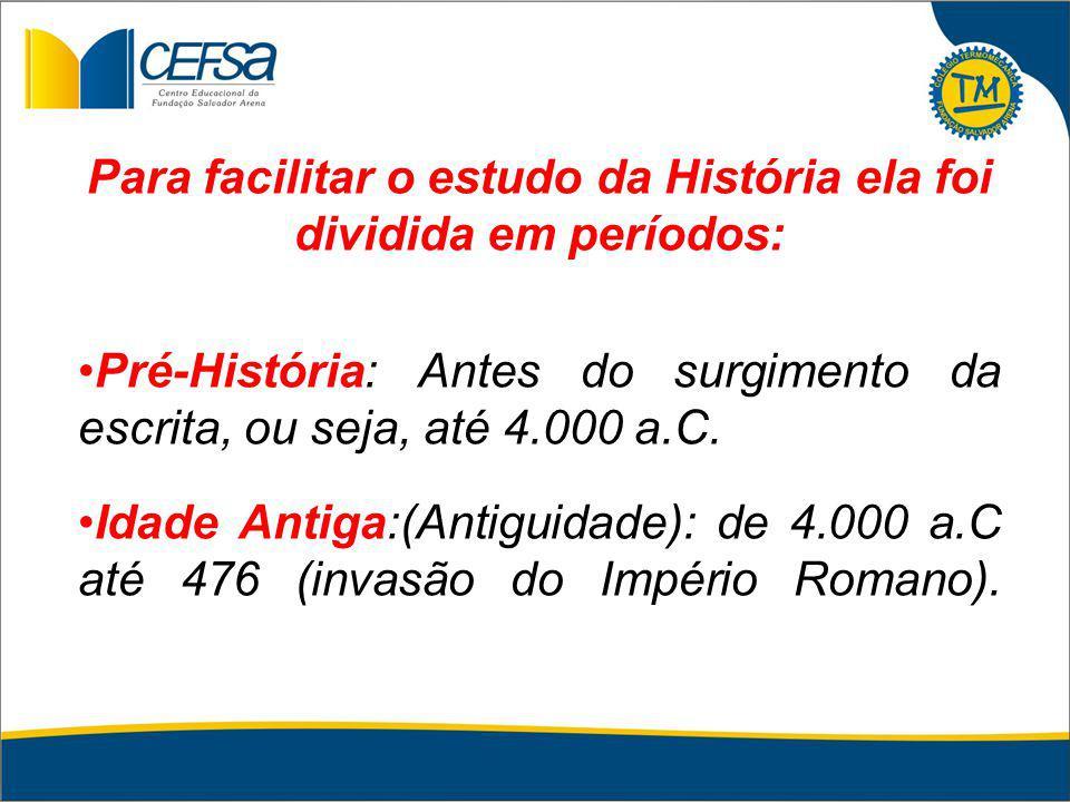 Para facilitar o estudo da História ela foi dividida em períodos: