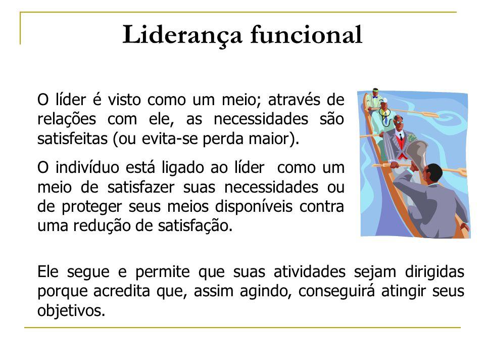 Liderança funcional O líder é visto como um meio; através de relações com ele, as necessidades são satisfeitas (ou evita-se perda maior).