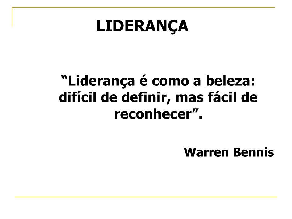 LIDERANÇA Liderança é como a beleza: difícil de definir, mas fácil de reconhecer . Warren Bennis
