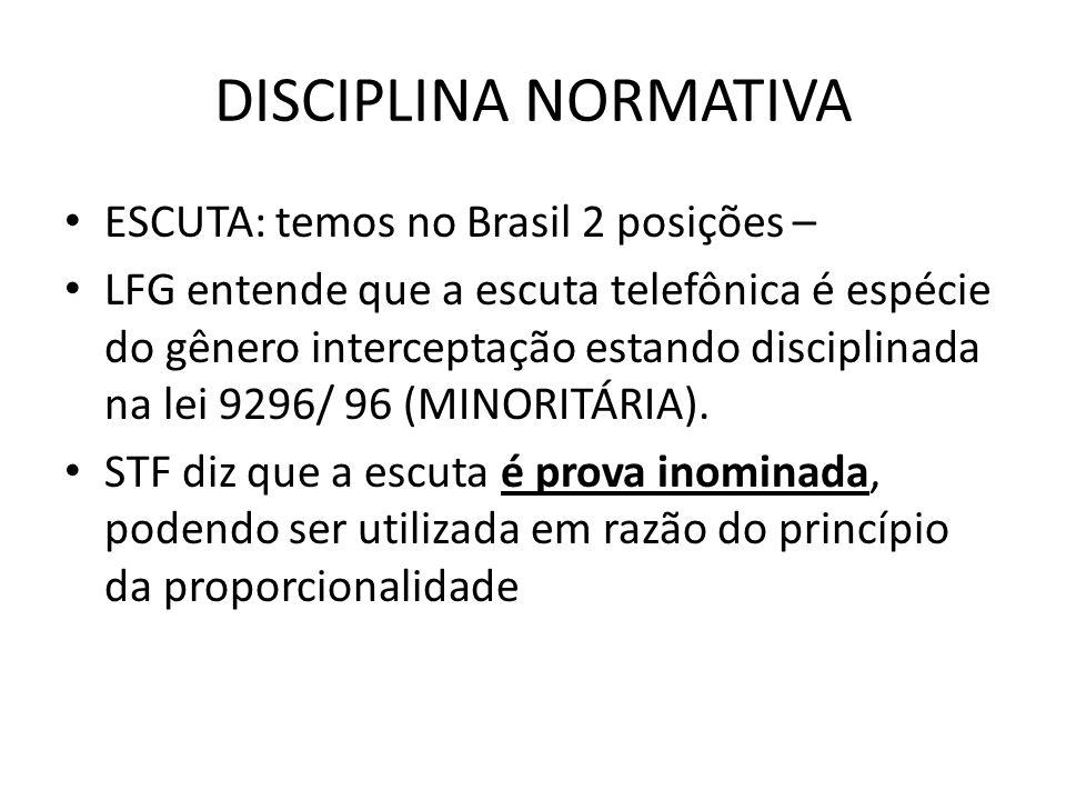 DISCIPLINA NORMATIVA ESCUTA: temos no Brasil 2 posições –