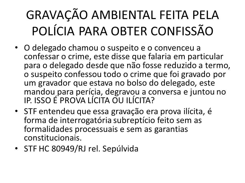 GRAVAÇÃO AMBIENTAL FEITA PELA POLÍCIA PARA OBTER CONFISSÃO