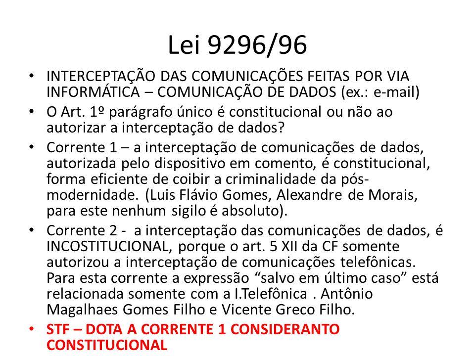Lei 9296/96 INTERCEPTAÇÃO DAS COMUNICAÇÕES FEITAS POR VIA INFORMÁTICA – COMUNICAÇÃO DE DADOS (ex.: e-mail)