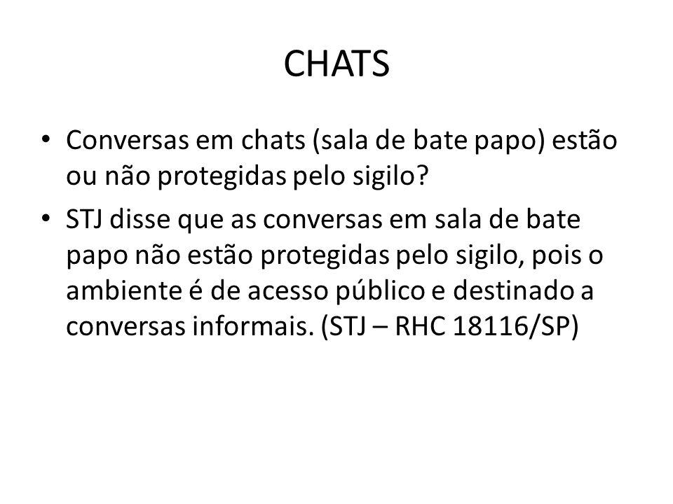 CHATS Conversas em chats (sala de bate papo) estão ou não protegidas pelo sigilo