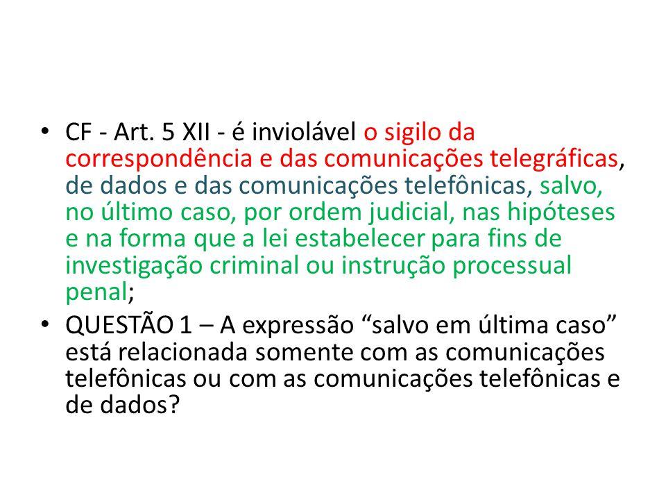 CF - Art. 5 XII - é inviolável o sigilo da correspondência e das comunicações telegráficas, de dados e das comunicações telefônicas, salvo, no último caso, por ordem judicial, nas hipóteses e na forma que a lei estabelecer para fins de investigação criminal ou instrução processual penal;