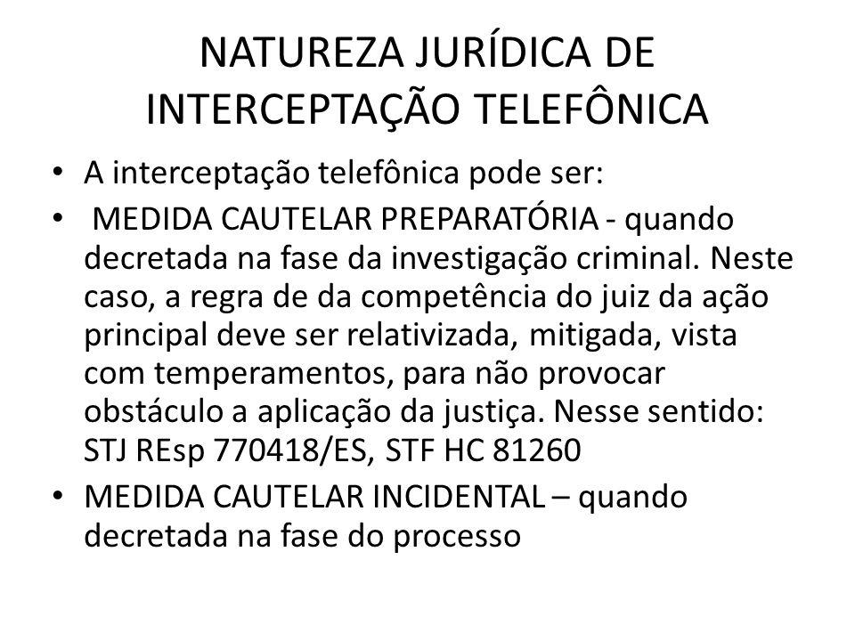 NATUREZA JURÍDICA DE INTERCEPTAÇÃO TELEFÔNICA