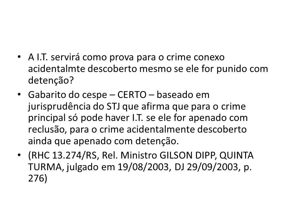 A I.T. servirá como prova para o crime conexo acidentalmte descoberto mesmo se ele for punido com detenção
