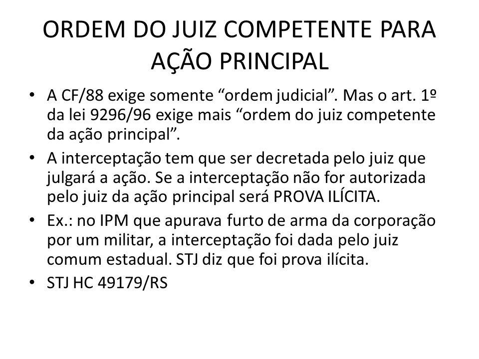 ORDEM DO JUIZ COMPETENTE PARA AÇÃO PRINCIPAL