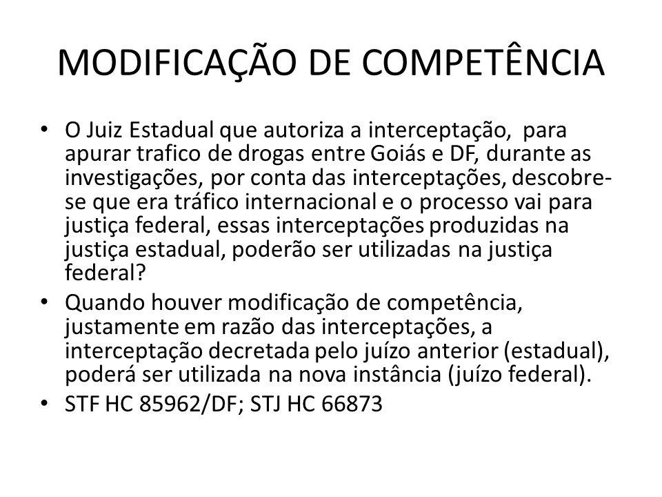 MODIFICAÇÃO DE COMPETÊNCIA