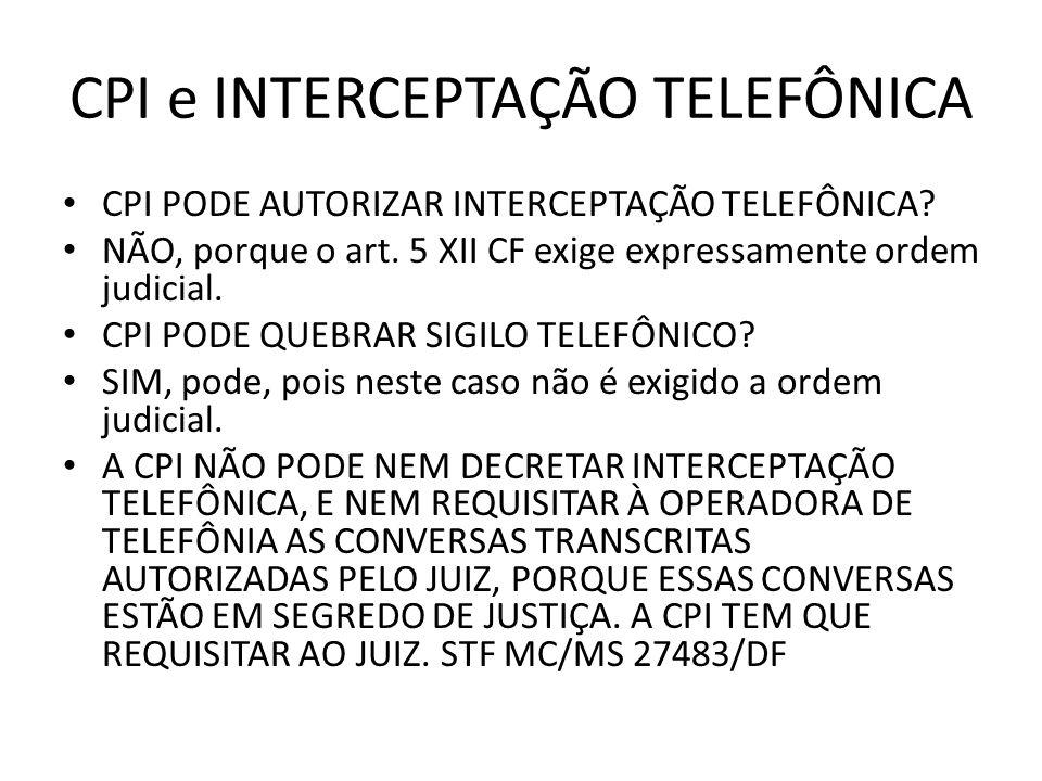 CPI e INTERCEPTAÇÃO TELEFÔNICA