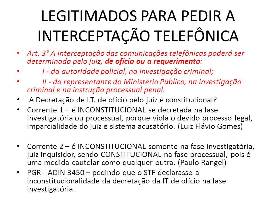 LEGITIMADOS PARA PEDIR A INTERCEPTAÇÃO TELEFÔNICA