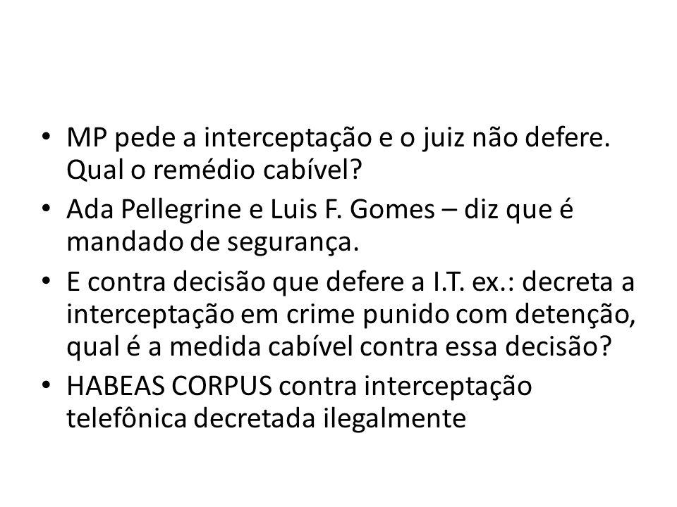 MP pede a interceptação e o juiz não defere. Qual o remédio cabível