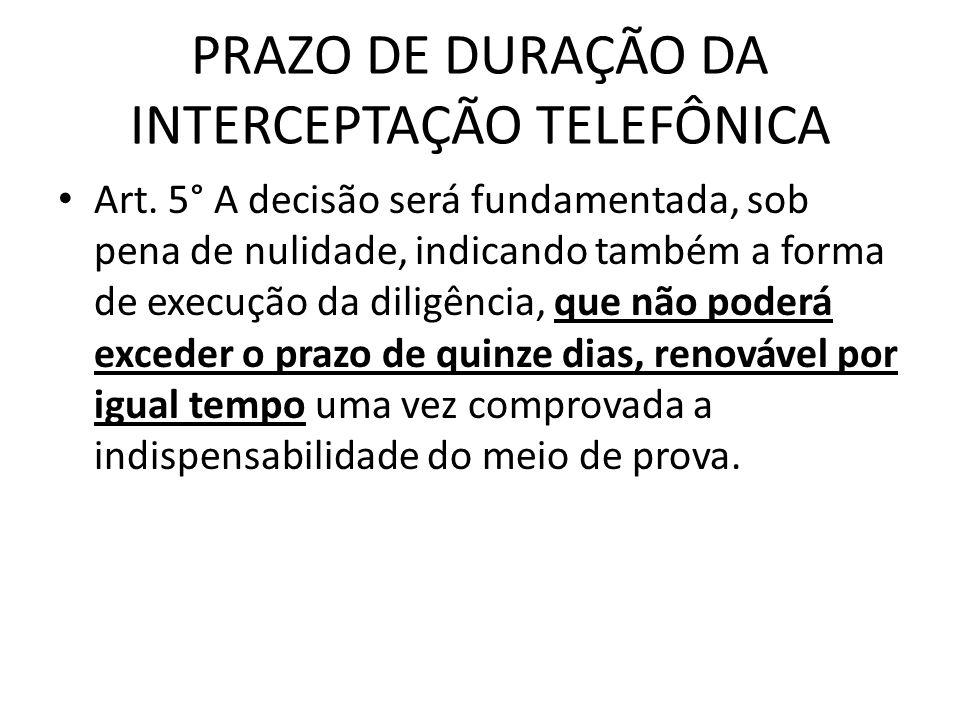 PRAZO DE DURAÇÃO DA INTERCEPTAÇÃO TELEFÔNICA