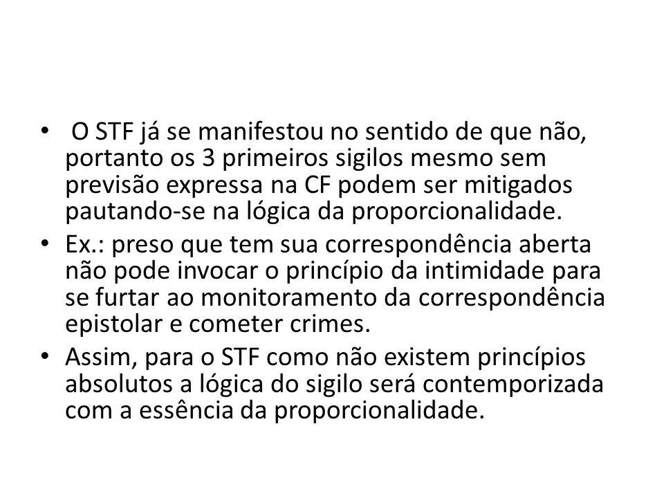 O STF já se manifestou no sentido de que não, portanto os 3 primeiros sigilos mesmo sem previsão expressa na CF podem ser mitigados pautando-se na lógica da proporcionalidade.