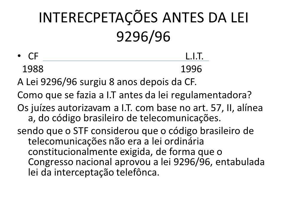 INTERECPETAÇÕES ANTES DA LEI 9296/96