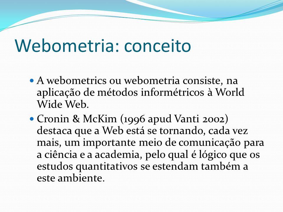 Webometria: conceito A webometrics ou webometria consiste, na aplicação de métodos informétricos à World Wide Web.