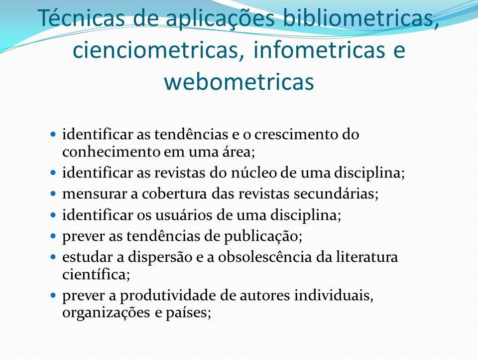 Técnicas de aplicações bibliometricas, cienciometricas, infometricas e webometricas