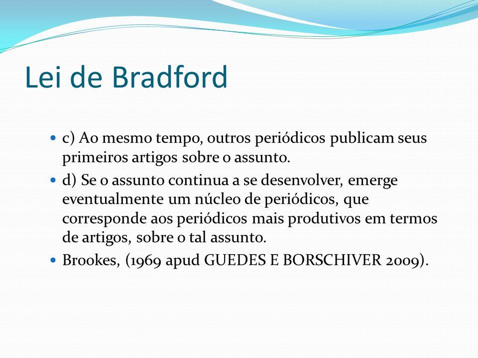 Lei de Bradford c) Ao mesmo tempo, outros periódicos publicam seus primeiros artigos sobre o assunto.