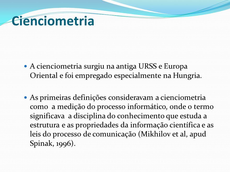 Cienciometria A cienciometria surgiu na antiga URSS e Europa Oriental e foi empregado especialmente na Hungria.
