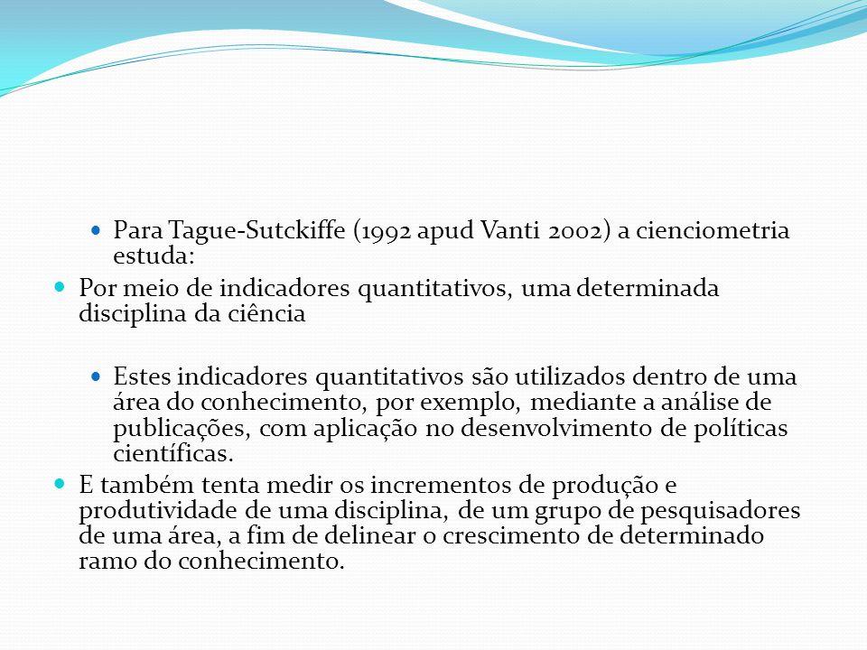 Para Tague-Sutckiffe (1992 apud Vanti 2002) a cienciometria estuda: