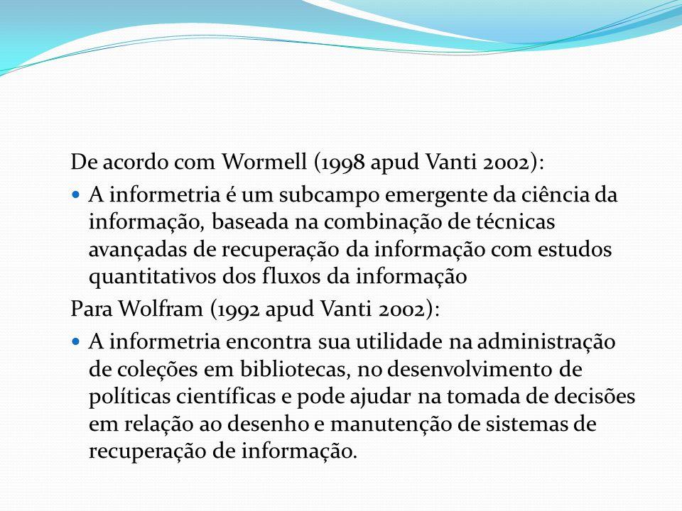 De acordo com Wormell (1998 apud Vanti 2002):