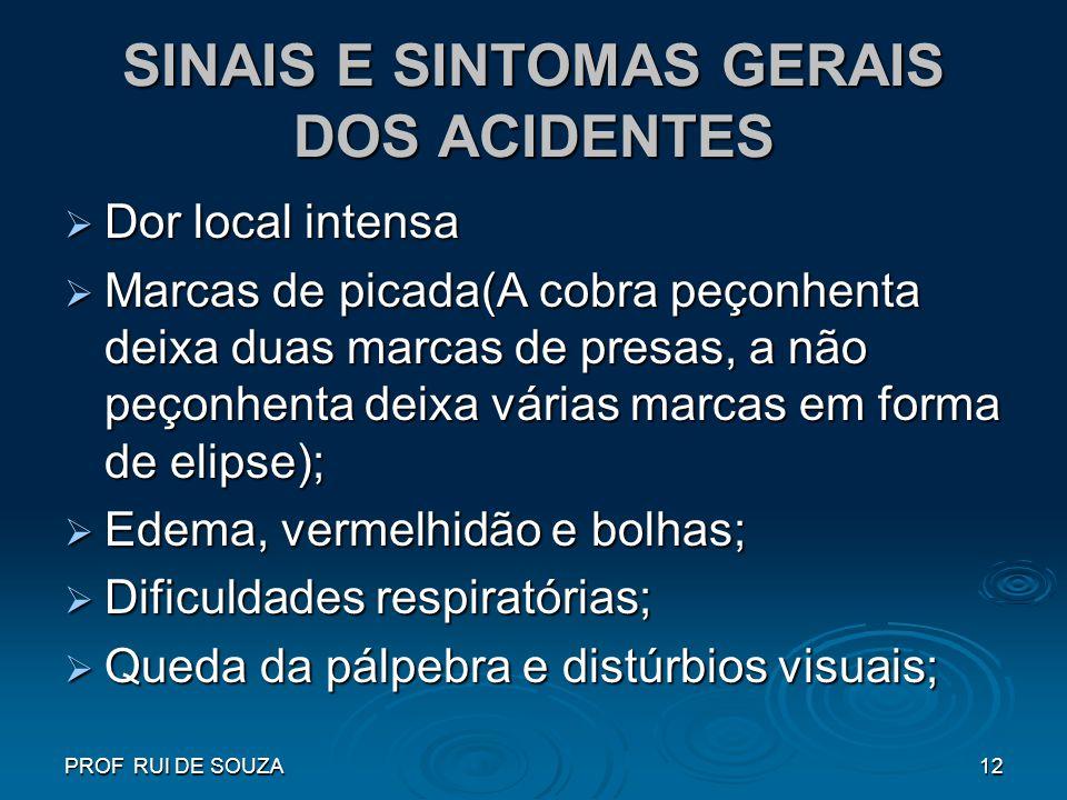 SINAIS E SINTOMAS GERAIS DOS ACIDENTES