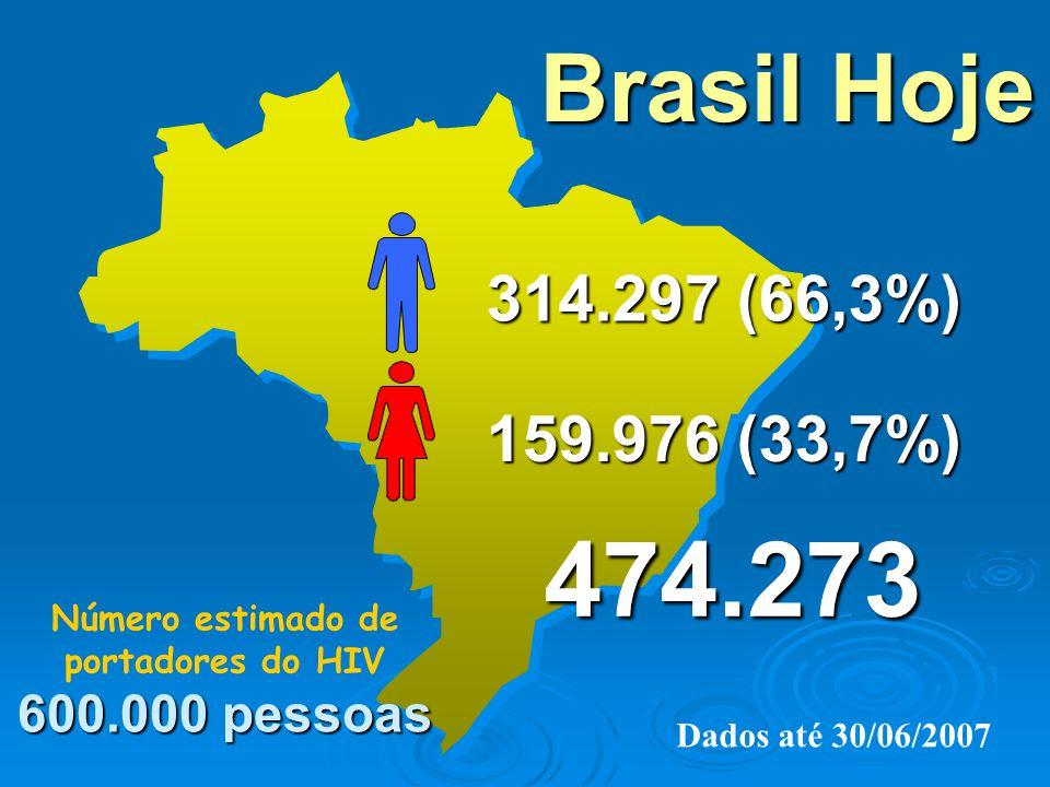 Número estimado de portadores do HIV 600.000 pessoas