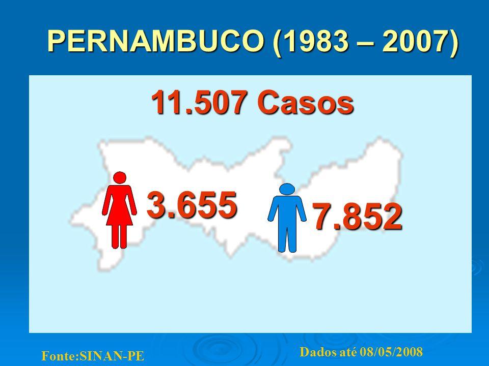 3.655 7.852 11.507 Casos PERNAMBUCO (1983 – 2007) Dados até 08/05/2008