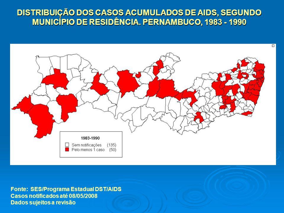 DISTRIBUIÇÃO DOS CASOS ACUMULADOS DE AIDS, SEGUNDO MUNICÍPIO DE RESIDÊNCIA. PERNAMBUCO, 1983 - 1990