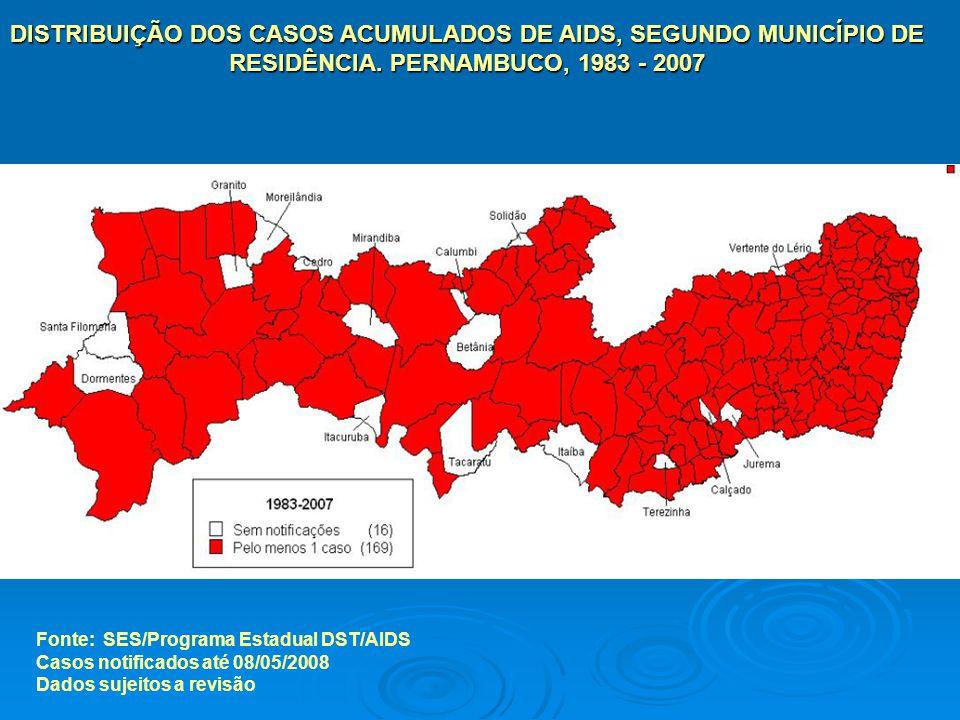 DISTRIBUIÇÃO DOS CASOS ACUMULADOS DE AIDS, SEGUNDO MUNICÍPIO DE RESIDÊNCIA. PERNAMBUCO, 1983 - 2007