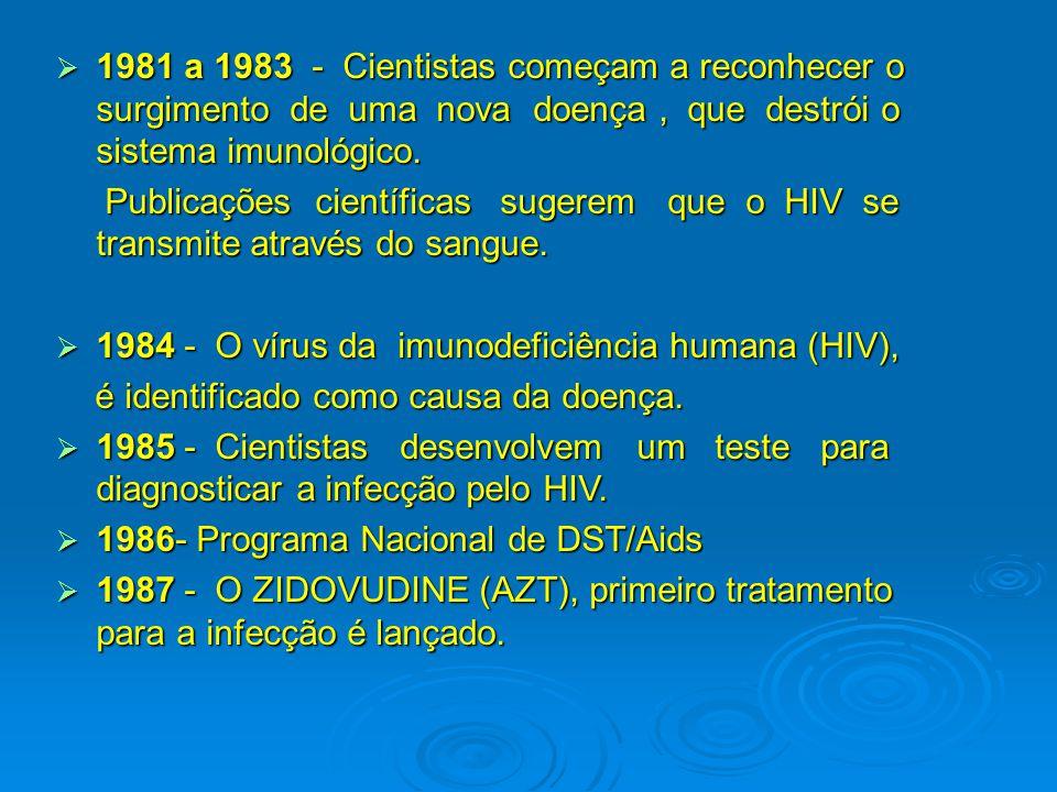 1981 a 1983 - Cientistas começam a reconhecer o surgimento de uma nova doença , que destrói o sistema imunológico.