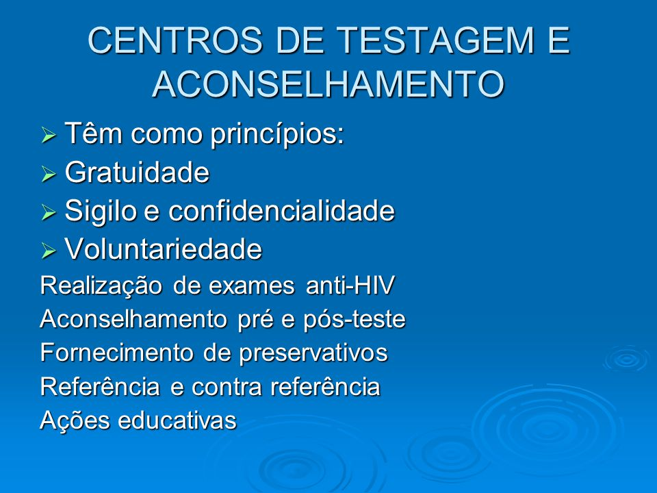 CENTROS DE TESTAGEM E ACONSELHAMENTO