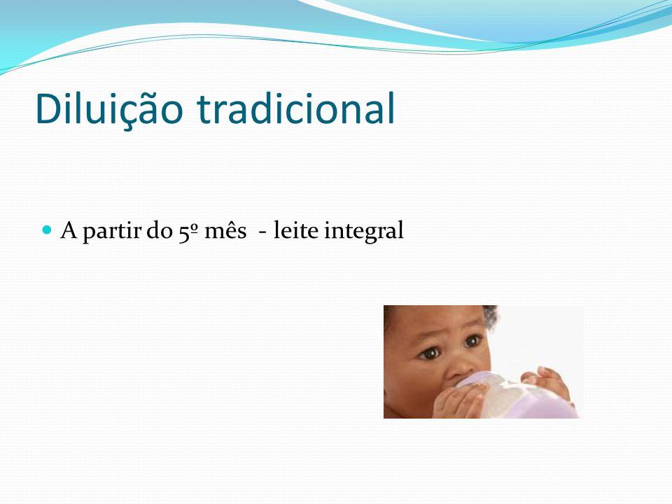 Diluição tradicional A partir do 5º mês - leite integral