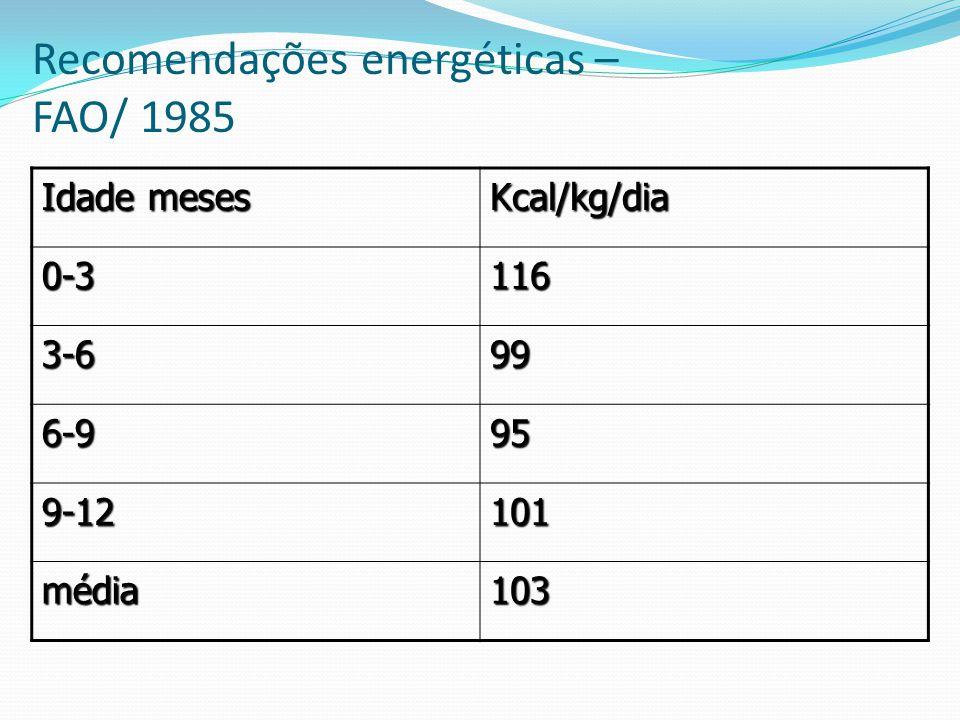 Recomendações energéticas – FAO/ 1985