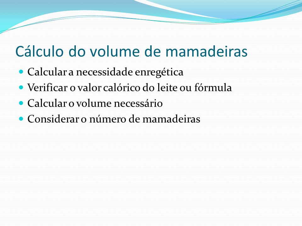 Cálculo do volume de mamadeiras