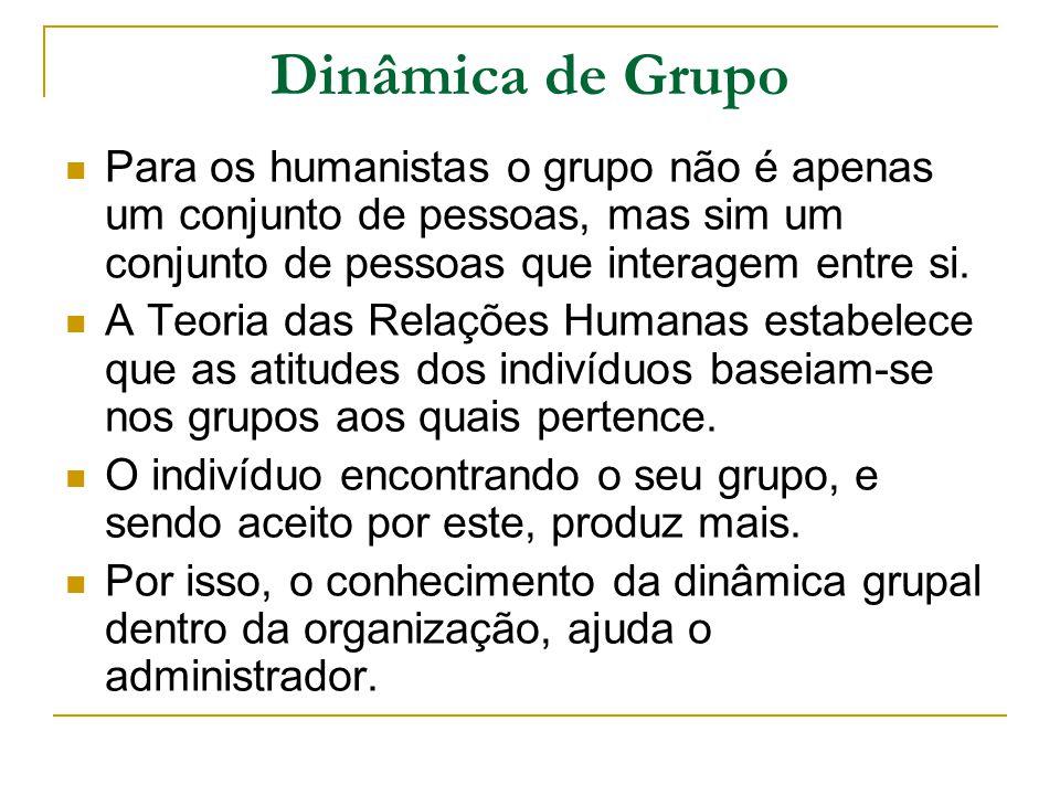 Dinâmica de Grupo Para os humanistas o grupo não é apenas um conjunto de pessoas, mas sim um conjunto de pessoas que interagem entre si.