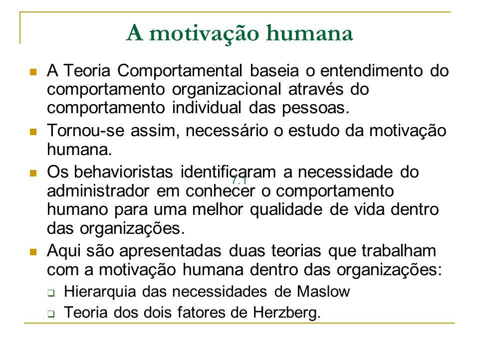 A motivação humana A Teoria Comportamental baseia o entendimento do comportamento organizacional através do comportamento individual das pessoas.
