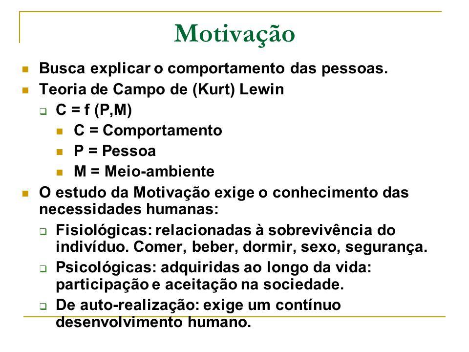 Motivação Busca explicar o comportamento das pessoas.